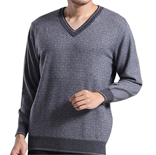 METERDE Men's Premium V Neck Rib Trim Cashmere Pullover Sweater Grey 2XL by Cashmere DX