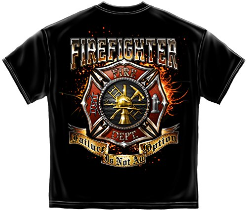 Firefighter T Shirt Firefighter Failure is Not an Option American Flag Marine Corps US Army Air Force US Navy Firefighter 100% Cotton T Shirt Black ADD115-FF2327XXL XX-Large