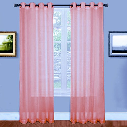 Warm Home Designs Rose Pink Window Scarves Sheer Light: Warm Home Designs Short Rose Pink Sheer Window Curtains