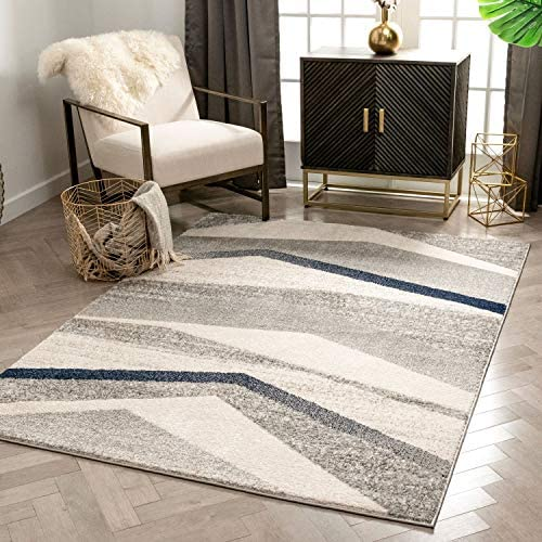 Well Woven Bilbao Grey Blue Triangle Boxes Abstract Geometric Pattern Area Rug 8×10 7 10 x 9 10