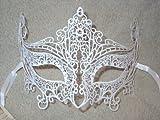 White Laser Cut Venetian Cat Carnival Masquerade Mask