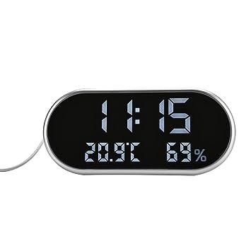 Despertador Digital, Termómetro Reloj Despertador para Niños, Luz de Fondo LCD Despertadore Electrónico Digital