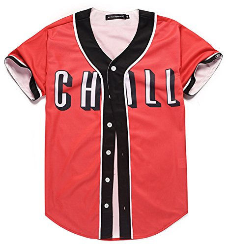 HOP FASHION Youth Unisex Boy Girl Baseball Jersey Short Sleeve 3D Red Front Print Dance Team Uniform Tops Shirt HOPM007-20-XS