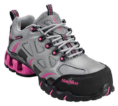 Nautilus 1851 Women's Comp Toe Waterproof EH Athletic Shoe,Grey/Pink,7.5 W US