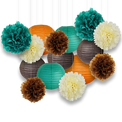 Green Brown Orange - Just Artifacts Decorative Paper Party Pack (15pcs) Paper Lanterns and Pom Pom Balls - Orange/Teal/Ivory/Browns