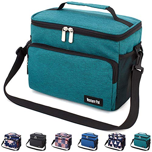 Leakproof Reusable Insulated Durable Cooler Lunch Bag - Office Work School Picnic Beach Lunch Box with Adjustable Shoulder Strap for Women,Men-Green