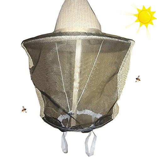Novo Beekeeping Veil with Square Hat, Woven Straw Hat, Thickening and Encryption Veil, Wheat Hat and Black Veil by NOVO