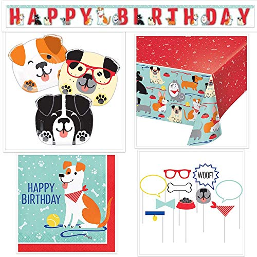 Dog-Theme Birthday Party Bundle: Serves 16 Plates + Napkins + Table Cover + Photo Props + Birthday Banner ()