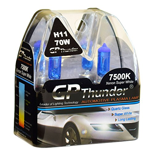 GP Thunder GP75-H11 7500K H11 12V 70W Halogen Xenon Super White Color W/QUAZE Glass (2 Bulbs)