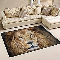 LORVIES Portrait Of Huge Beautiful Male African Lion Area Rug Carpet Non-Slip Floor Mat Doormats for Living Room Bedroom 72 x 48 inches