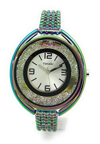 Dial Link Watch Bracelet (Ladies Elegant Metal Link Bracelet Fashion Watch Silver Dial Versales (iridescent))