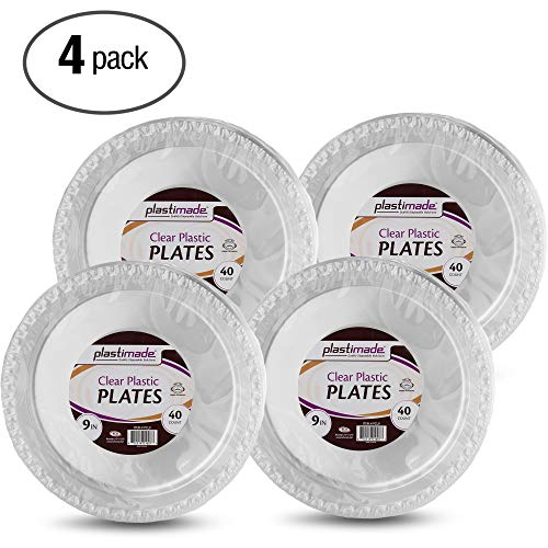 Plastimade Clear Plastic Plates 9 Inch Pack of 160