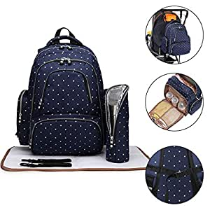 Kono Multi-Function Diaper Bag Travel Backpack Nappy Bags for Baby Care Large Capacity Nursing Mummy Handbag 3 Pieces Navy Polka Dots 6706