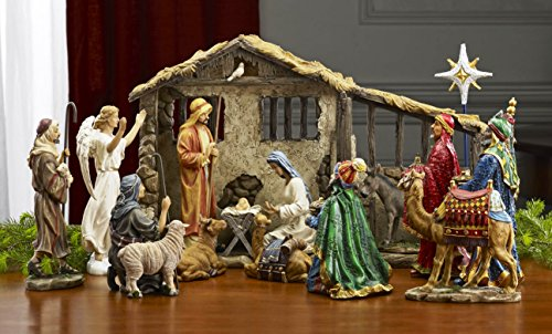 - 7 Inch Figures Real Life Nativity Full Complete Set - Includes All People, Lighted Manger, Chest of Gold, Frankincense & Myrrh