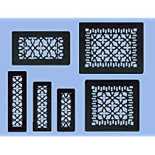 "Antique Recreated Cast Iron Victorian Style Floor. Ceiling, Or Wall Grate For Return Air Intake Or Heat Vents. Floor Register Cover. 2 1/4"" x 10"" (Overall size 3 1/2"" x 12"") Cast Iron Grill without Damper (ZM-IR-210)"