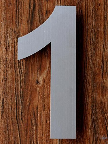 QT Modern House Number - 6 Inch - Brushed Stainless Steel (Number 1 One), Floating Appearance, Easy to install and made of solid 304