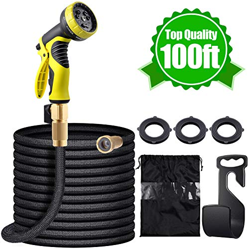 YoWin 100 Feet Garden Hose, Expandable Flexible Water Hose with 9 Function Spray Nozzle, Double Latex Core Covered with Extra Strength Fabric & 3/4″ Reliable Brass Fittings