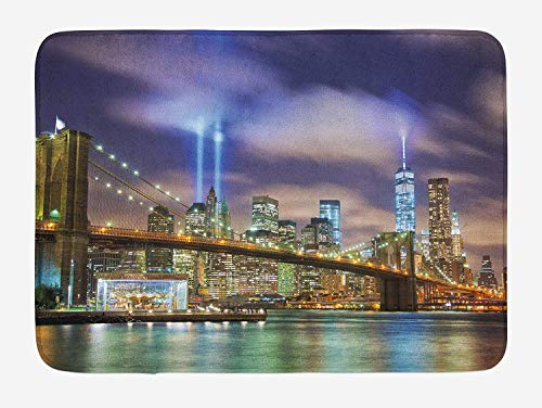 (ABOUtshoc Landscape Bath Mat Manhattan Skyline with Brooklyn Bridge and Towers in NYC United States America 23.6 W X 15.7 W Inches Door Mat Bath Rug with Non-Slip)