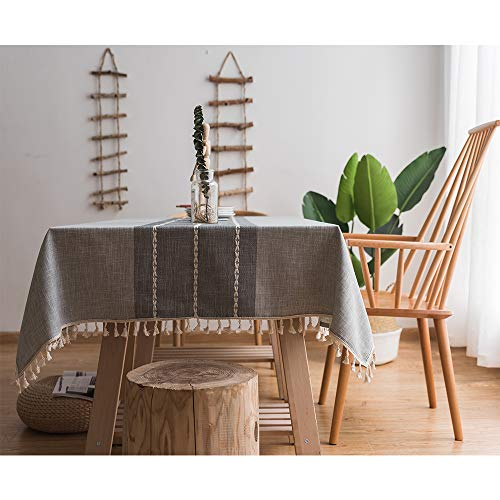 Cotton Linen Rectangle Tablecloth with Tassel, Modern Stitching Fringe Heavy Weight Dust-Proof Table Cloth Cover for Kitchen Dining Tabletop Decoration (Grey Fringe, Square, 55x55 inches)