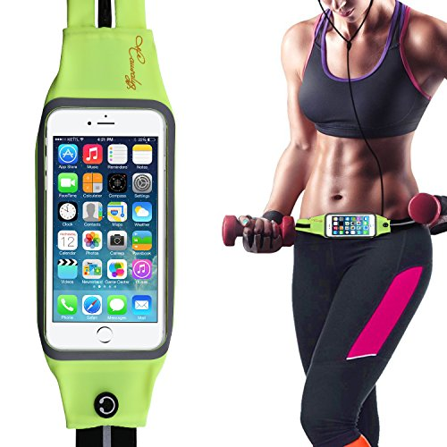 Siesta Aluminum Sling (Causalyg Adjustable Running Belt Waist Pack Belt Fanny Pack Workout Belt Sports Pouch For iPhone 7,7 Plus,6s,6s Plus,Samsung Galaxy Note, LG with Transparent Touch Screen Window Dual Pockets(Green))