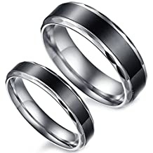Flongo 1 Pair of Black Vintage Love His and Hers Stainless Steel Wedding Engagement Promise Eternity Bands Ring Sets, 2 Pcs