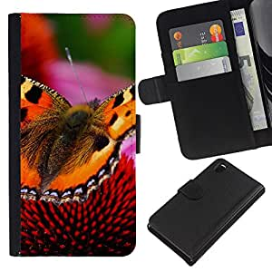 All Phone Most Case / Oferta Especial Cáscara Funda de cuero Monedero Cubierta de proteccion Caso / Wallet Case for Sony Xperia Z3 D6603 // Butterfly Floral Spring Nature Summer