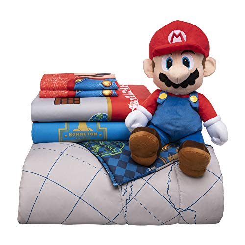 Nintendo Super Mario Soft Microfiber Comforter, Sheets and Plush Cuddle Pillow Bedding Set, Full Size, 6 Piece Bundle