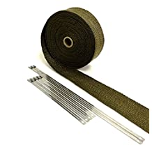 Titanium LAVA High Temperature Header Exhaust Pipe Insulation Wrap Kit: 1 Roll 2 INCH WIDE X 25 FEET LONG with Stainless Steel Zip Ties Kit - Thermal Zero - LV116225TK