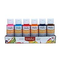 Handy Art 6 Color-2 Ounce Secondary Face Paint Kit, 6-2oz