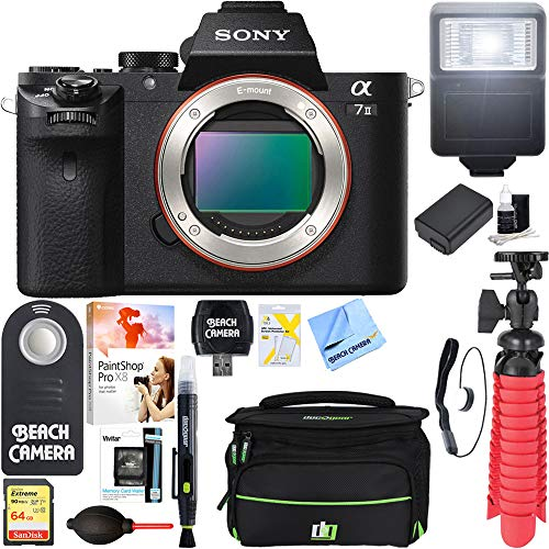Cheap Sony Alpha 7II Mirrorless Interchangeable Lens Camera Body + NP-FW50 Spare Battery & Accessory Bundle