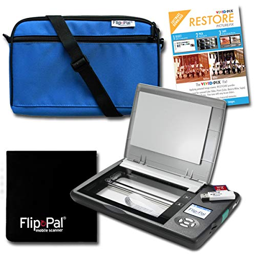 Flip-Pal Restore Bundle: Scanner with Blue Carry case, Lens Cleaning Cloth, and Restore Software from Vivid-Pix to Revive Old Photos.