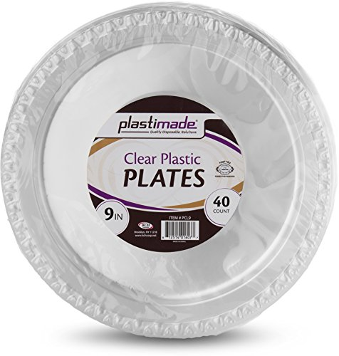 (Plastimade Disposable Clear plastic 9 Inch Dinner Plates 1 Pack (40 Plates))