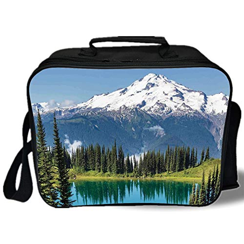 (Insulated Lunch Bag,Landscape,Lake and Snowy Glacier Peak in Washington USA Tall Pine Tree Forest,White Blue and Green,for Work/School/Picnic, Grey)