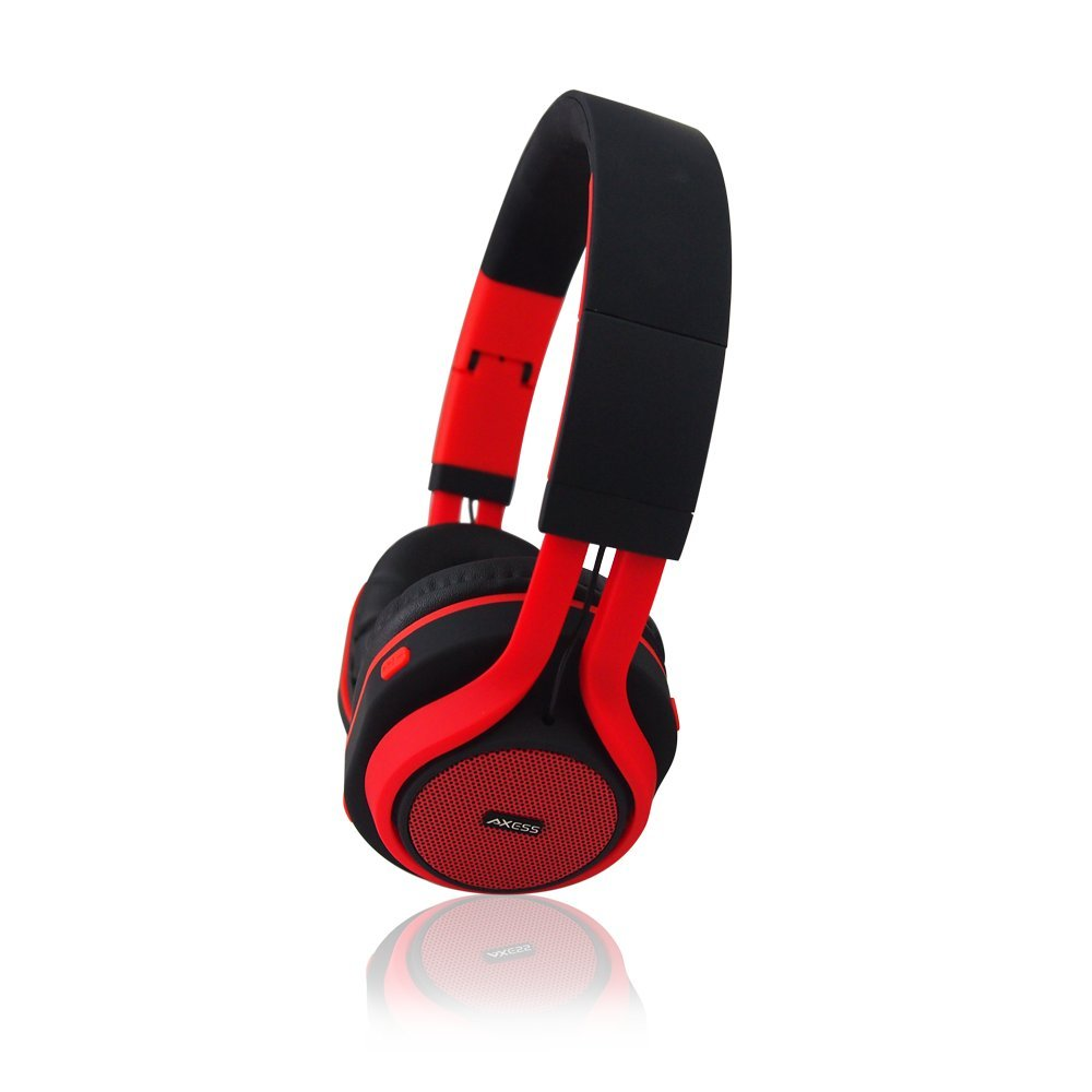 AXESS HPBT619 Wireless Bluetooth Over-Ear Headphones for Smartphones with Hands Free Calling, Red