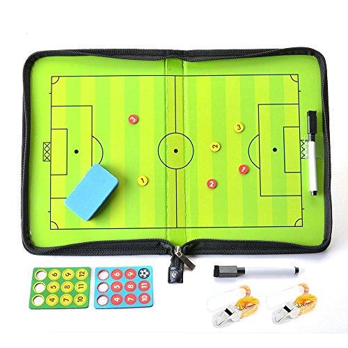 Fußball Coach-Board Coach-Mappe für Fußball Professional Fußball Taktikmappe mit Magnete Stifte Radiergummi,Pfeife