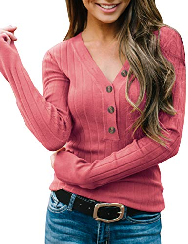 MEROKEETY Women's Long Sleeve V Neck Ribbed Button Knit Sweater Solid Color Tops