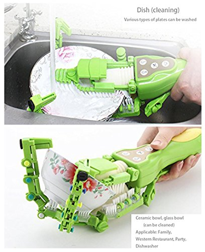 Makaor Handheld Automatic Dish Scrubber Brush Antibacterial Kitchen Dishwasher Brush Kitchen Cleaning Tool Automatic Dish Scrubber Brush (Green, Size:41.8cm x 11.5cm x 7cm) by Makaor (Image #7)