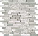 M S International White Quarry Splitface 12 In. X 10 mm Marble Mesh-Mounted Mosaic Tile, (10 sq. ft., 10 pieces per case)