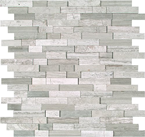 M S International White Quarry Splitface 12 In. X 10 mm Marble Mesh-Mounted Mosaic Tile, (10 sq. ft., 10 pieces per case) by MS International