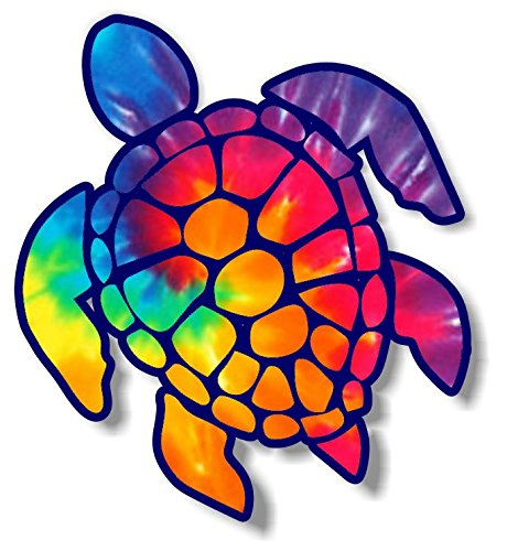 - Vinyl Junkie Graphics 3 inch Sea Turtle Sticker for Laptops CupsTumblers Cars and Trucks Any Smooth Surface (Rainbow tie dye)
