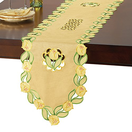 (Collections Elegant Spring Table Linens with Yellow Tulips & Organza Background, Runner)