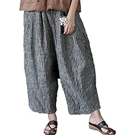 YESNO P57 Women Casual Loose Cropped Pants 100% Linen Handcraft Embroidery Wide Leg Pocket