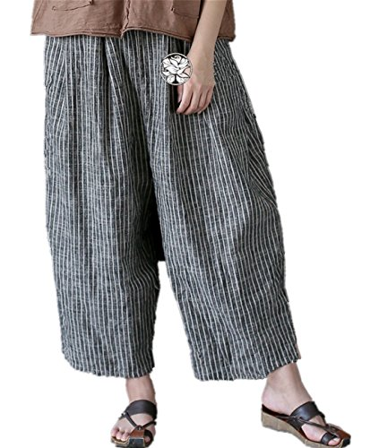 YESNO PE6 Cropped Pants Trousers Wide Leg 100% Linen Striped Color Constrast Pants Elastic Waist/Side Pockets