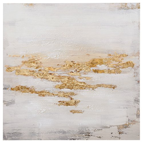 Abstract Gold, White, and Peach Flecks Painting on Canvas Wall Art Decor, 30