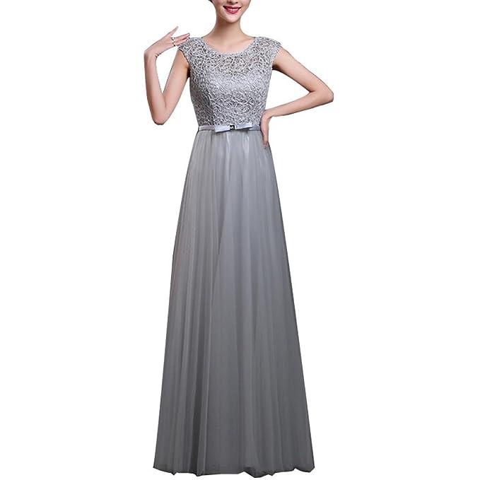 Encaje Mujer Chiffón Vestidos de Noche Gala Largos y Elegantes: Amazon.es: Ropa y accesorios