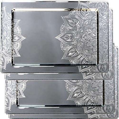 (Maro Megastore (Pack of 4) 14.2-Inch x 10.6-Inch Rectangular Chrome Plated Serving Tray Sun Flower Edge Floral Engraved Decorative Wedding Birthday Dessert Cake Candle Platter Plate 3058 S Ts-182)