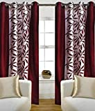 FreeHome Style Polyester Floral Window Curtain- 5 Feet x 4 Feet ,Maroon