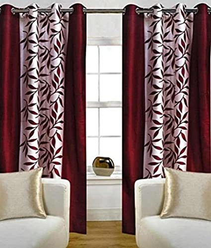 Freehomestyle Floral Polyester Door Curtain - 7ft, Maroon