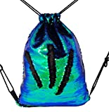 Fashion Glitter Drawstring Backpack Sequins Mermaid Sequins Magic Reversible Glitter String Bag Hyun Black