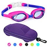 Kids Swim Goggles Swimming Goggles for Boys Girls Kid Age 3-12 Child Colorful Swim Goggles Clear Vision Anti Fog UV Protection No Leak Soft Silicone Nose Bridge Protection Case Kids' Skoogles